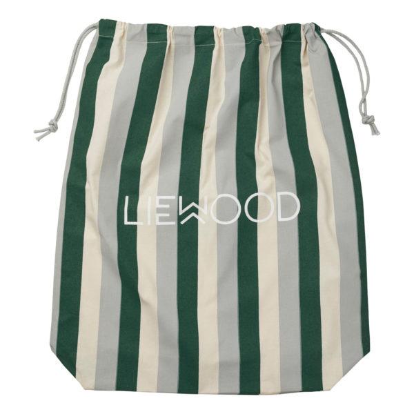 Liewood Stoffbeutel Stripe Garden green sandy dove blue Big (61x52cm) Geschenkverpackung