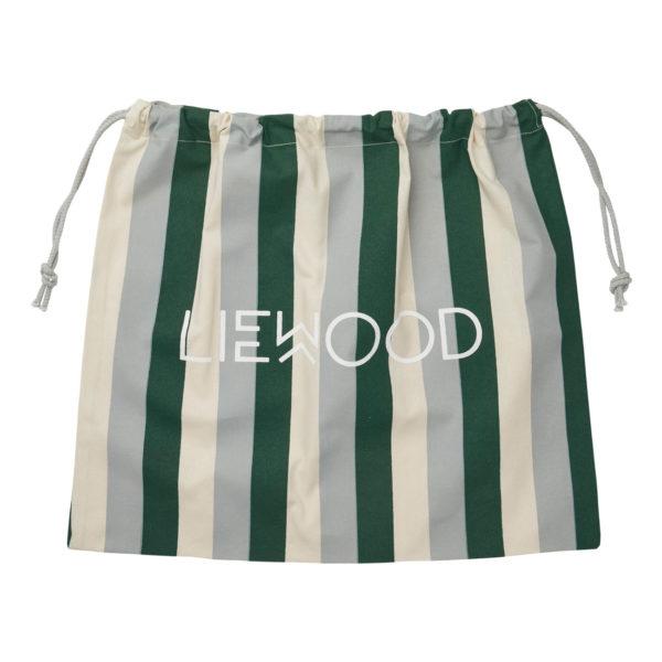 Liewood Stoffbeutel Stripe Garden green sandy dove blue M (48x42cm) Geschenkverpackung