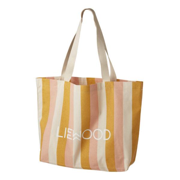 Liewood Tote Stofftasche Stripe Peach sandy yellow mellow, groß, 54x37cm