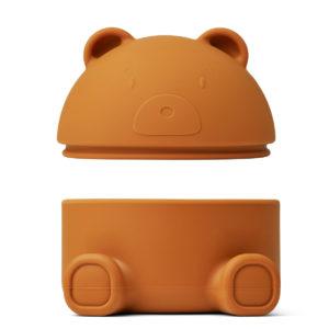 "Liewood Murphy Schmuckbox mit Deckel ""Mr. Bear mustard"", Silikon 03"