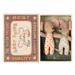 Maileg Baby Mäuse Zwillinge in der Box, H8cm 01