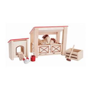 Pferdestall aus Öko-Holz für Puppenhaus, 8-tlg.