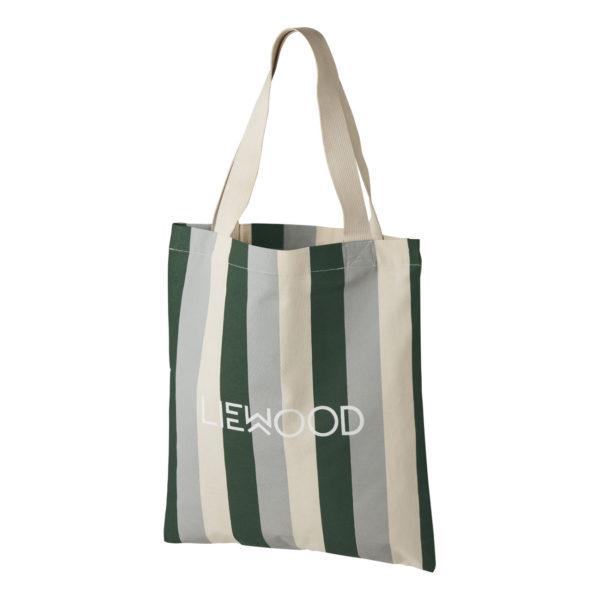 """Liewood Tote Einkaufstasche """"Stripe, Garden green, sandy, dove blue"""" 01"""