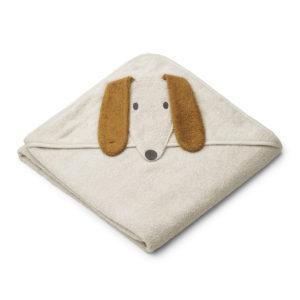"""Liewood Kapuzenhandtuch Augusta """"Dog sandy"""", 100x100cm 01"""